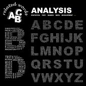 ANALYSIS. Vector letter collection. Illustration with different association terms.
