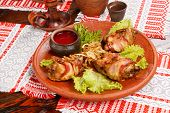 chicken in the bacon ((belorussian food)