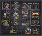 Постер, плакат: Chalk menu list blackboard designs set for cafe or restaurant sushi menu desserts seafood fish b