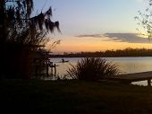 picture of bayou  - sunset on Bayou Des Allemands with trees - JPG
