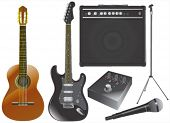 guitar and music equipments vector