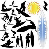 wave surfing and sun vector