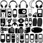 electronic vector 2 (mp3 player, mobile phone, headphone, webcam, digital camera, speaker)