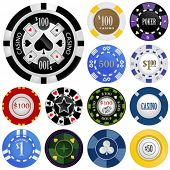 gambling chips vector set
