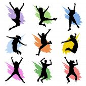 stock photo of exaltation  - jumping people set - JPG