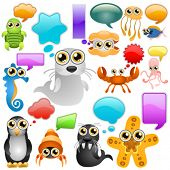 marine life cartoon character set