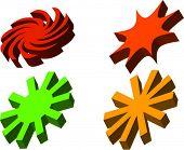 Four 3D vector designs