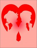 A couple with a heart background, thinking of each other. Illustrator file is also available in my portfolio