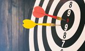 Target Dart With Target Arrows And Dartboard Is The Target And Goal,abstract Background To Target Ma poster