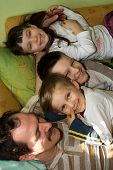 Happy Children With Father
