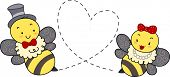 Illustration of Honey Bees Making Punctures Forming the Shape of a Heart