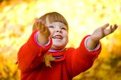image of fall leaves  - Cute girl laughing and playing with autumn leaves in park - JPG