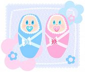 Vector illustration of new-born babies in swaddling clothes