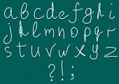 Vector illustration of sketch alphabet on blackboard