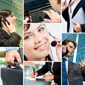 Collage with business people, telecommunication and other objects
