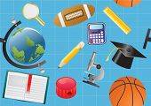 Vector illustration of seamless school background