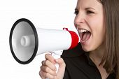 Woman yelling into megaphone bullhorn