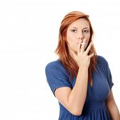stock photo of electronic cigarette  - Young woman smoking electronic cigarette  - JPG