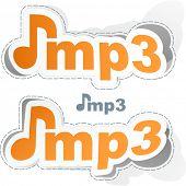 MP3. Vector sticker set.
