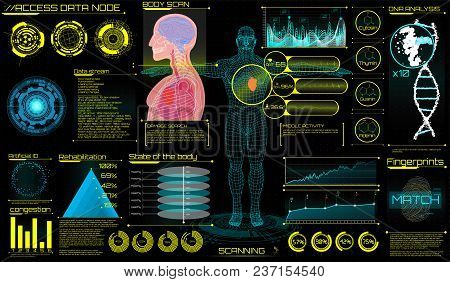 poster of Head Up Display (hud) Ui For Medical App. Ultrasound And Cardiogram. Futuristic Medical Interface, V