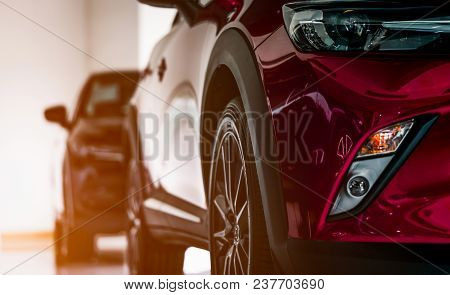 poster of New Luxury Suv Compact Car Parked In Modern Showroom For Sale. Car Dealership Office. Car Retail Sho