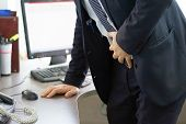 Close-up Of Office Worker Having Painful Stomachache. Chronic Gastritis. Businessman With Abdominal  poster