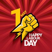 Happy Labour Day Vector Label With Strong Orange Fist On Red Background With Rays. Labor Day Backgro poster