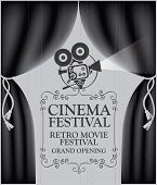 Vector Cinema Festival Poster With Black Curtains And Projector Lights. Movie Background With Words  poster