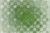 Abstract Fantasy Ornament - Fractal,  Fractal Shapes Green Fantasy Pattern, Squares And Circles poster