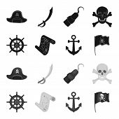 Pirate, Bandit, Rudder, Flag .pirates Set Collection Icons In Black, Monochrome Style Vector Symbol  poster