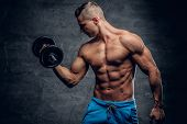 Shirtless Abdominal Suntanned Young Male Fitness Model Holds Dumbbell On Grey Background. poster