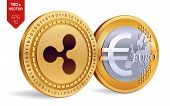 Ripple. Euro Coin. 3d Isometric Physical Coins. Digital Currency. Cryptocurrency. Golden Coins With  poster