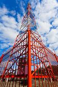 Telecommunication Tower With Panel Antennas And Radio Antennas And Satellite Dishes For Mobile Commu poster