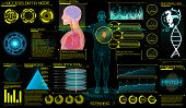 Head Up Display (hud) Ui For Medical App. Ultrasound And Cardiogram. Futuristic Medical Interface, V poster