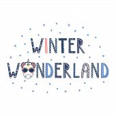 Hand Drawn Typographic Poster With Text Winter Wonderland, Snowflakes And Cute Funny Unicorn Face In poster
