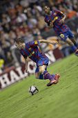 VALENCIA, SPAIN - OCTOBER 17 - Andres Iniesta- FootBall Match of Spanish Professional Soccer League