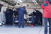 VALENCIA, SPAIN - FEBRUARY 1: F1 Test - Sauber Box - on February 1, 2010 in Cheste, Valencia, Spain