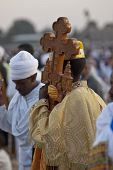 Christian Orthodox devotees holding the Lalibela Cross at the Timket Festival