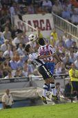 VALENCIA, SPAIN - SEPTEMBER 22 - FootBall Match Spanish Soccer League between Valencia C.F. vs AT. Madrid - Luis Casanova Stadium - Ricardo Costa, Diego Costa - Spain on September 22, 2010