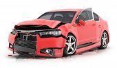 Red Car Crash On Isolated White Background. 3d Illustration poster