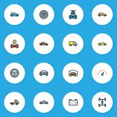 Automobile Icons Colored Line Set With Carwash, Sedan, Wheelbase And Other Sport  Elements. Isolated poster