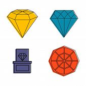 Diamond Icon Set. Color Outline Set Of Diamond Vector Icons For Web Design Isolated On White Backgro poster