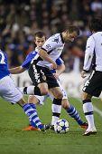 VALENCIA, España - febrero 15-#9 con bola de Soldado en la Liga de Campeones entre Valencia C