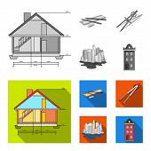 Drawing Accessories, Metropolis, House Model. Architecture Set Collection Icons In Monochrome, Flat  poster