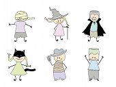 Children In Costumes For Halloween