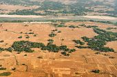 Aerial View Of Bangladesh Agricultural Field - View Of Paddyfield From Sky. Bangladesh Is A Agricult poster