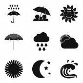 Meteorological Icons Set. Simple Set Of 9 Meteorological Vector Icons For Web Isolated On White Back poster
