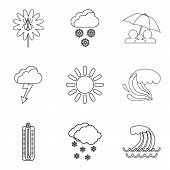 Meteorological Conditions Icons Set. Outline Set Of 9 Meteorological Conditions Vector Icons For Web poster
