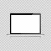 Realistic Laptop Isolated On White Background. Computer Notebook With Empty Screen. Blank Copy Space poster