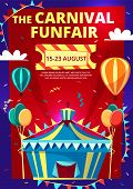 Carnival Funfair Vector Illustration Of Invitation Poster, Banner Or Flyer With Circus Tent And Hot  poster